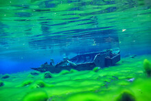 Sunken Boat Underwater Landscape, Shipwreck Diving, Search Adventure
