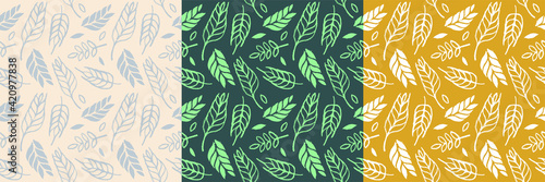 Wheat field pattern seamless, bread grains illustration, wheat hand-drawn vector illustration for background of bread label design, bakery packaging Fototapet