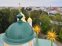View From Observation Deck Of Belfry Of Transfiguration (Spaso-Preobrazhensky) Monastery On Domes Church Of Yaroslavl Miracle Workers (1831) And Transfiguration Cathedral (1506-1516) Yaroslavl, Russia