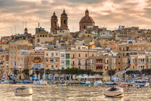 Beautiful Marina Of Isla Town At Sunset, Malta