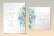 Modern wedding card with blue floral decoration