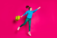 Full Size Profile Side Photo Of Young Happy Excited Smiling Girl With Bag Look Copyspace Jump Isolated On Pink Color Background