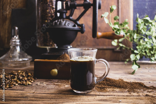 Fotografia cup of coffee beans