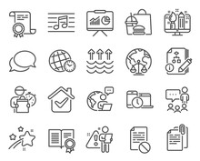 Education Icons Set. Included Icon As People Chatting, Wrong File, Time Zone Signs. Vector