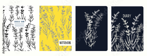 Tela Cover page vector templates with lavender branches