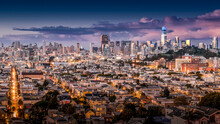 San Francisco Downtown Panorama. San Francisco's Financial District As Seen From Bernal Heights Park.