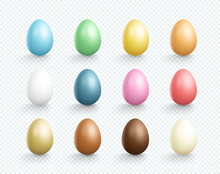 Easter Eggs Vector Element Plain Colors Set 3d Isolated