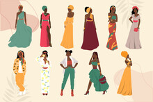 Beautiful Abstract Collection Of African American Woman. Vector Illustration Isolated. Portrait Of Girls For Avatars