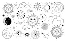 Set Of Sun, Moon, Stars, Clouds, Constellations And Esoteric Symbols. Alchemy Mystical Magic Elements For Prints, Posters, Illustrations And Patterns. Black Spiritual Occultism Objects.