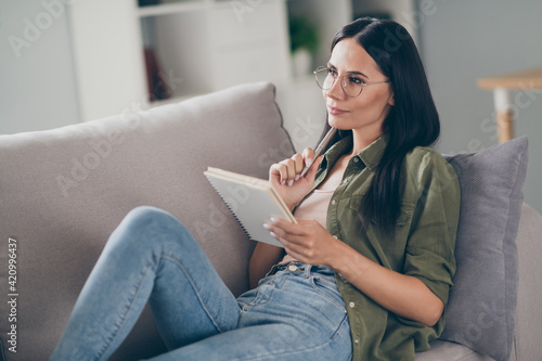 Portrait of attractive creative minded girl journalist sitting on divan creating new article at home house flat indoor