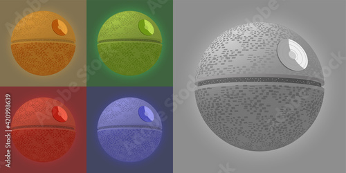 3D poster with a set of colored space spherical combat bases from the popular movie, dedicated to the 4th of May, the day of geeks and star wars