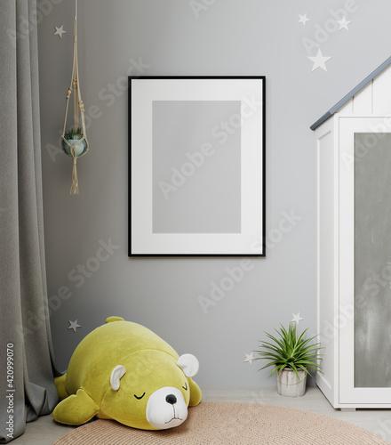 Fotografie, Tablou Mock up frame in children room interior background, Scandinavian style, 3D rende