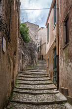 Tight And Steep Steps In Erice. Sicily, Italy.