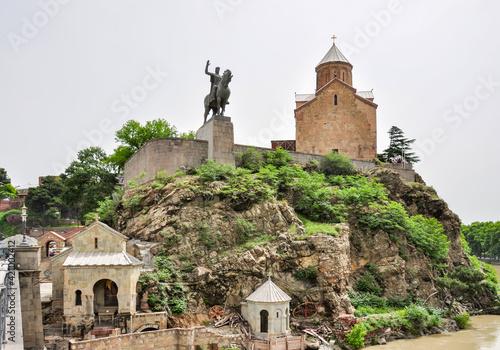Ancient Metekhi church and Vakhtang Gorgasali monument in Tbilisi, Georgia Wallpaper Mural