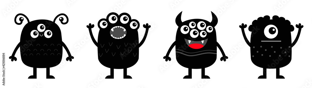 Fototapeta Monster icon set line banner. Happy Halloween. Kawaii cute cartoon baby character. Funny face head body black silhouette. Hands up, eyes teeth fang horn tongue. Flat design. White background.