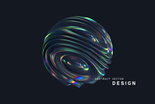 3d Wavy Fluorescent Sphere. Abstract Waving Shapes With Thin Film Effect. Liquid Multicolor Pattern, Iridescent Glossy Ripples. Vector Illustration.