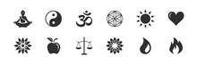 Yoga / Gesundheit / Kraft / Natur - Vektor Symbole