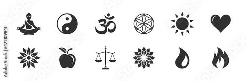 Fototapeta Yoga / Gesundheit / Kraft / Natur - Vektor Symbole
