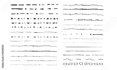 Obraz Set of artistic pen brushes.Doodles, ink brushes.Set of vector grunge brushes. Collection of strokes of markers. Set of wavy horizontal lines - fototapety do salonu