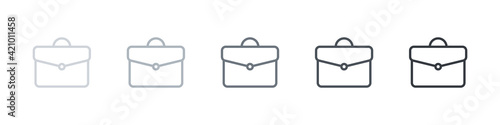 Suitcases linear style. Briefcase icons collection. Briefcases modern style. Vector illustration