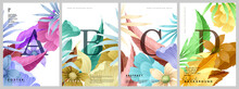 Flower Cards. A Set Of Vector Illustrations. Spring And Summer Backgrounds. Flowers, Leaves , Branches . Watercolor Background, Pastel Colors.