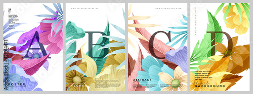 Obraz Flower cards. A set of vector illustrations. Spring and summer backgrounds. Flowers, leaves , branches . Watercolor background, pastel colors. - fototapety do salonu