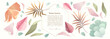 A set of vector elements of vegetation, leaves, flowers, branches. Pastel, watercolor. Brush strokes.