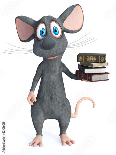 Fototapety, obrazy: 3D rendering of a cartoon mouse holding a pile of books.