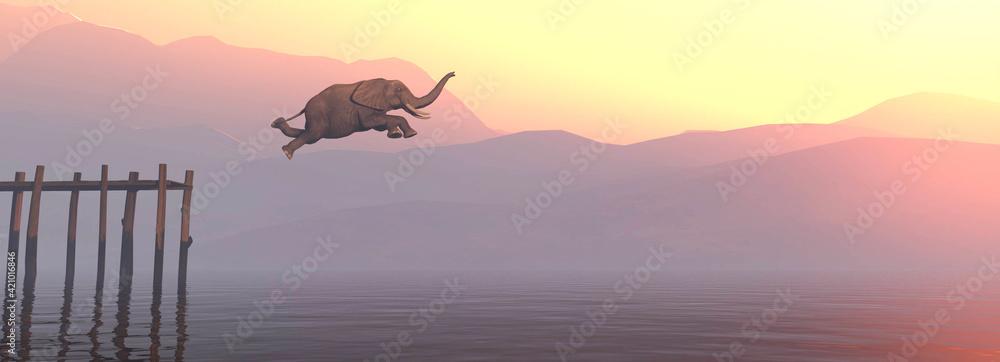 Obraz Jump elephant fototapeta, plakat
