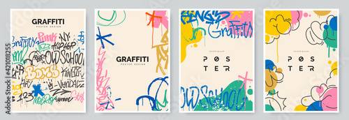 Fotografie, Obraz Abstract graffiti poster with colorful tags, paint splashes, scribbles and throw up pieces