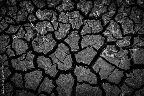 Obraz na plátně The dark ground is dried and cracks background