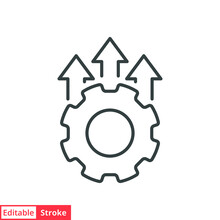 Operational Excellence Line Icon. Simple Outline Style Symbol. Optimize Technology, Innovation, Production Growth Concept. Vector Illustration Isolated On White Background. Editable Stroke EPS 10.
