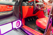 Colorful Lights Of Stereo And Speakers In Car