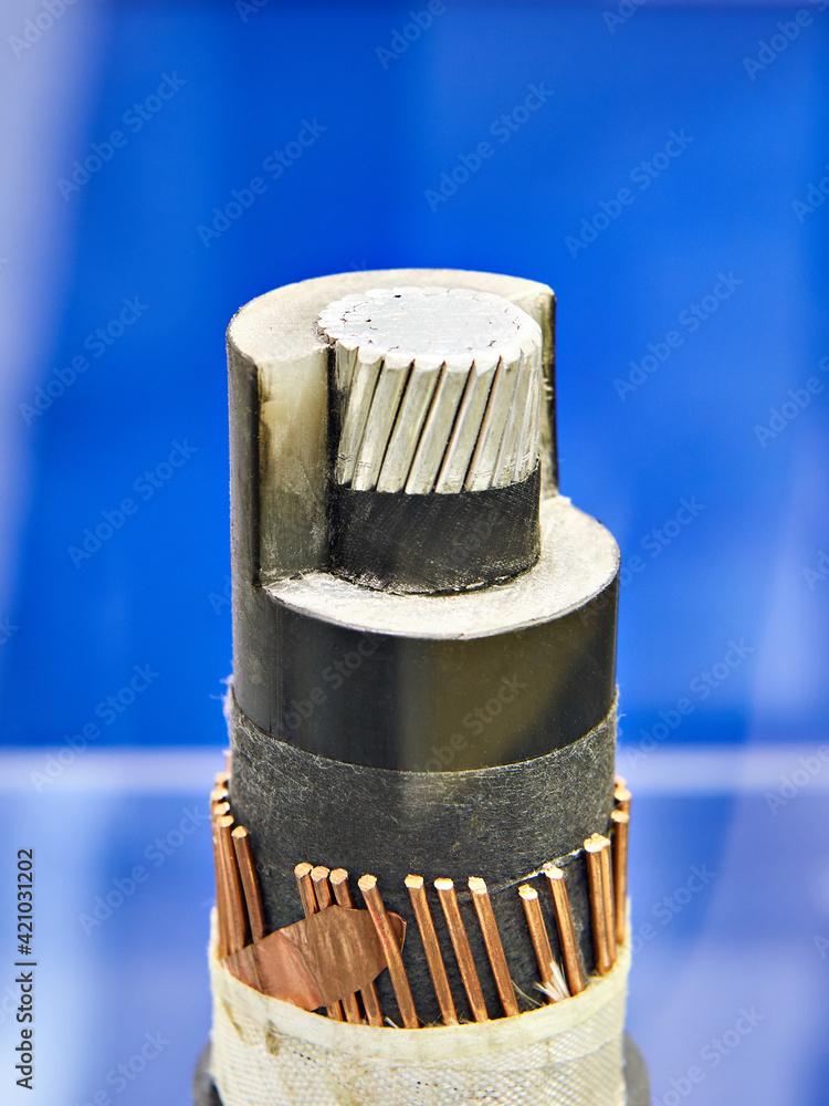 Fototapeta Power aluminum high voltage cable