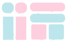 Set Pink And Blue Speech Bubbles On A White Background, Vector Speaking Or Talk Bubble, Conversation , Couple