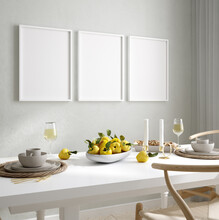 Mock Up Wall, Frame In Home Interior Background, Scandinavian Style, 3d Render