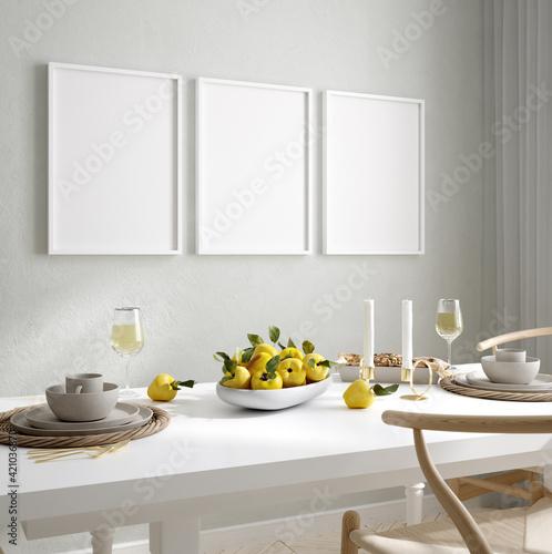 Fototapeta Mock up wall, frame in home interior background, Scandinavian style, 3d render obraz