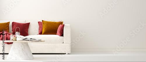 Modern interior background, wall mock up, 3d render