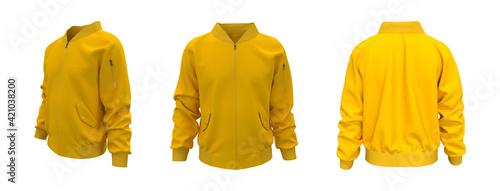 Fotografering Bomber jacket mockup, design presentation for print, 3d illustration, 3d renderi