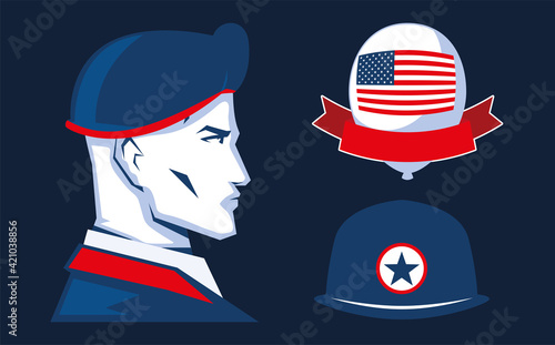 soldier american flag