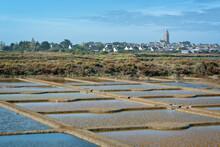 Landscape Of Salt Marshes And Village Of Batz Sur Mer Near Guerande In France