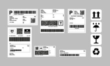 Barcode Label Delivery Template   Set Of Cargo Icons, Fragile, Recycle, Stickers