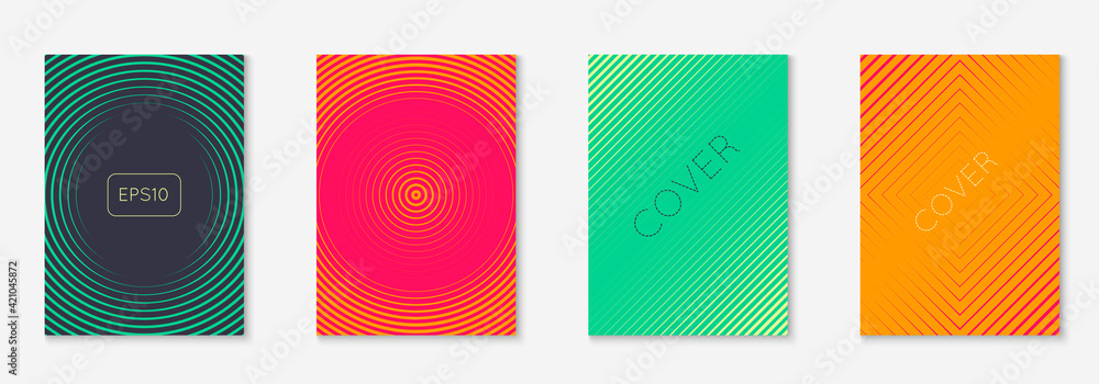 Fototapeta Music cover with minimalist geometric line and trendy shapes.
