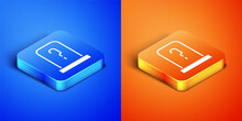 Isometric Grave With Tombstone Icon Isolated On Blue And Orange Background. Square Button. Vector