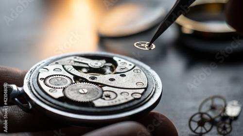 Fotografie, Tablou Mechanical watch repair process. Watchmaker