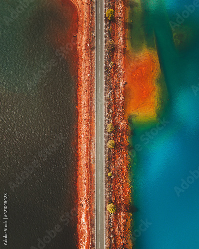 Aerial view of road passing through Minas de Rio Tinto in Spain.
