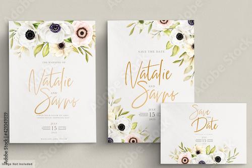 Foto Watercolor poppy anemone invitation card