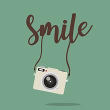 Design Camera Mini With  Smile Vector