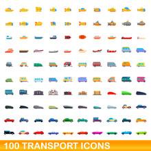 100 Transport Icons Set. Cartoon Illustration Of 100 Transport Icons Vector Set Isolated On White Background