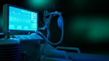 Medicine 3d Illustration, ICU Covid Ventilator In Clinic At Night